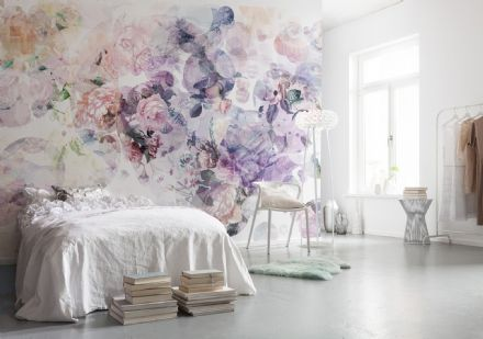 Non-woven wallpaper Pink & Purple flowers
